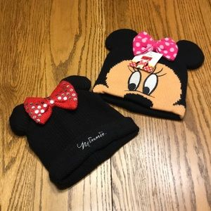 2 Disney Minnie Mouse Girls Hats Toddler/ Child